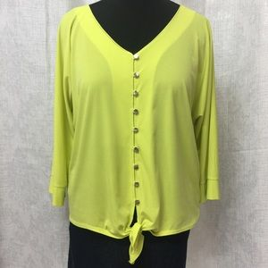 NY Collection Bright Lime Green Tie Detail Top